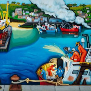 Shipwrights. Oil painting by Julia Odell