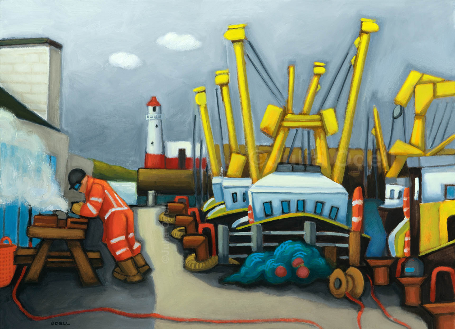 Working Harbour Oil painting by Julia Odell