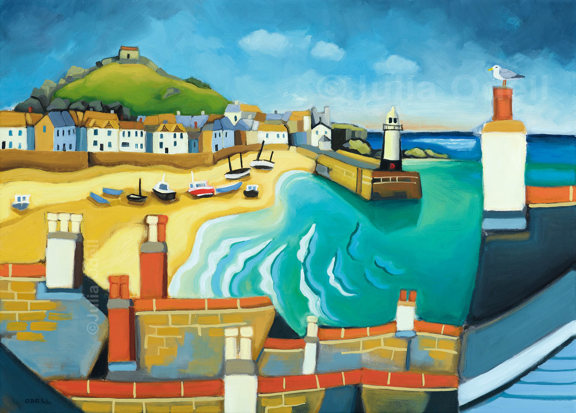 St Ives. Oil painting by Julia Odell