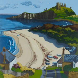Dunstanburgh Castle from Low Newton. Limited edition print by Julia Odell