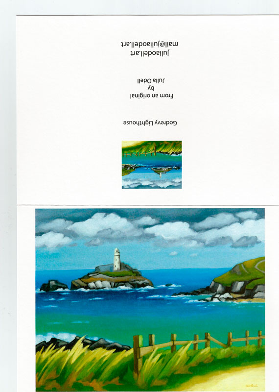 Godrevy Lighthouse Greetings Card by Julia Odell