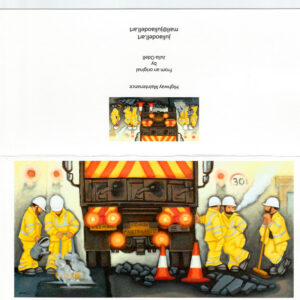 Road Workers Greetings Art Card by Julia Odell