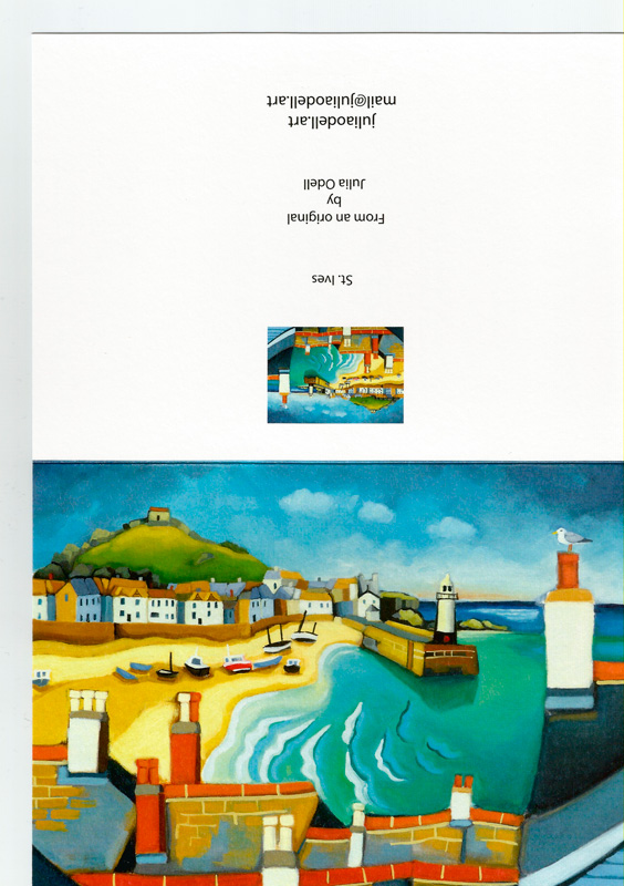 St Ives Greetings Card by Julia Odell