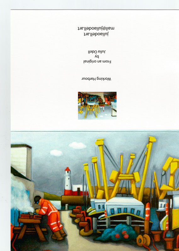 Working Harbour Greetings Art Card by Julia Odell